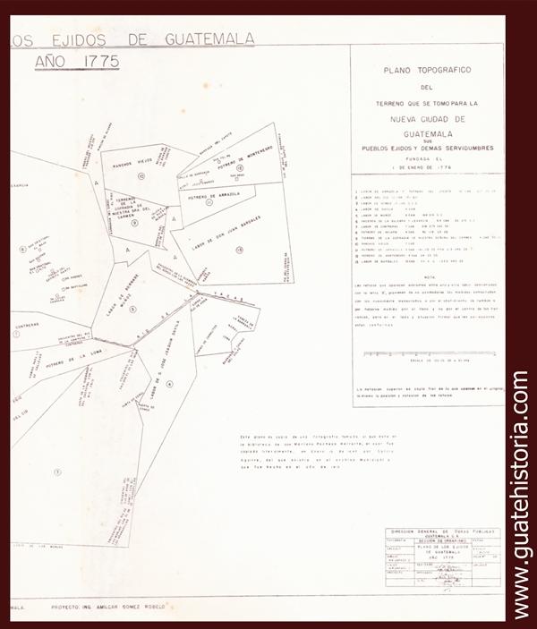PLANO TOPOGRÁFICO NUEVA CIUDAD DE GUATEMALA 1775
