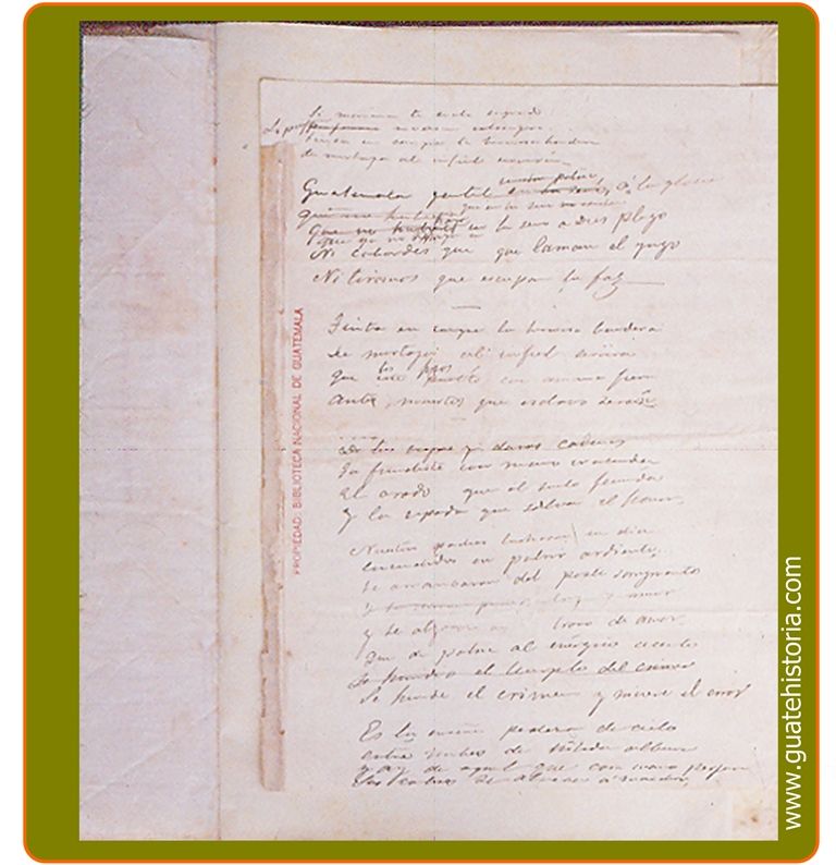Primera página del Original del Himno Nacional
